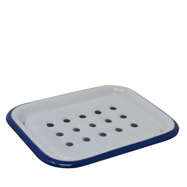 Seifenschale Emaille weiß/blau