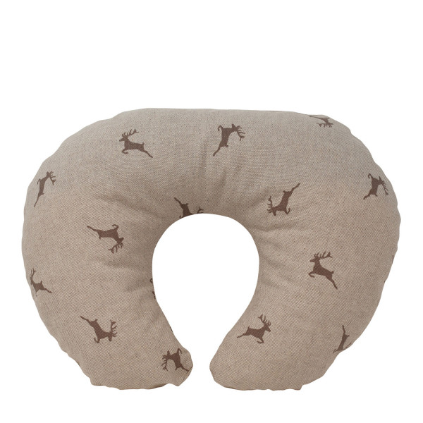Zirben Nackenhörnchen Hirsche beige/grau