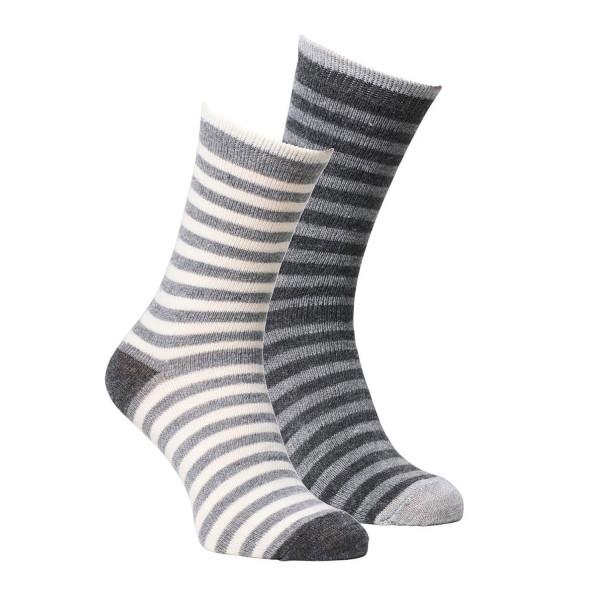 Alpaka Socken gestreift 2er Pack